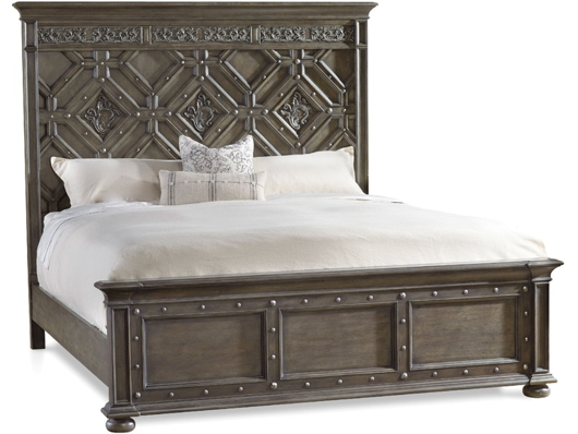 Picture of BEDROOM VINTAGE WEST CALIFORNIA KING WOOD PANEL BED
