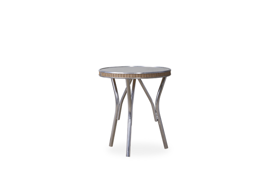 """Picture of ALL SEASONS 19"""" ROUND END TABLE WITH TAUPE GLASS"""