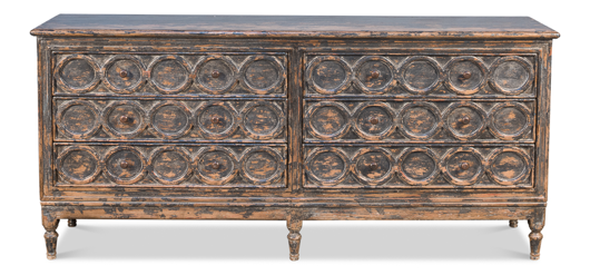 Picture of 30 CIRCLES CREDENZA, DISTRESSED BLACK