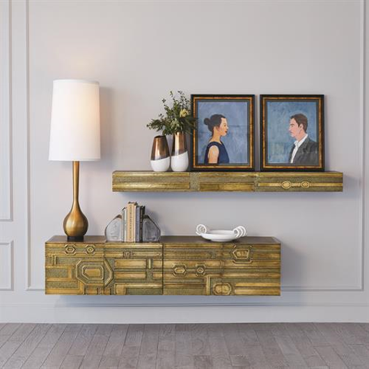 Picture of ABSTRACT BLOCK FLOATING SHELF-BRASS