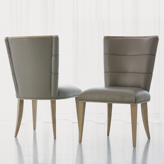 Picture of ADELAIDE SIDE CHAIR-GREY LEATHER
