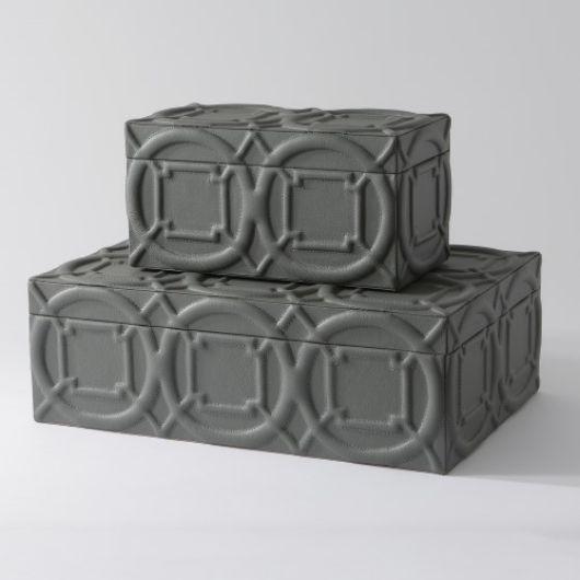 Picture of ARABESQUE TRAPUNTO BOX-GREY